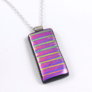 Purple / Pink Dichroic Fused Glass Pendant