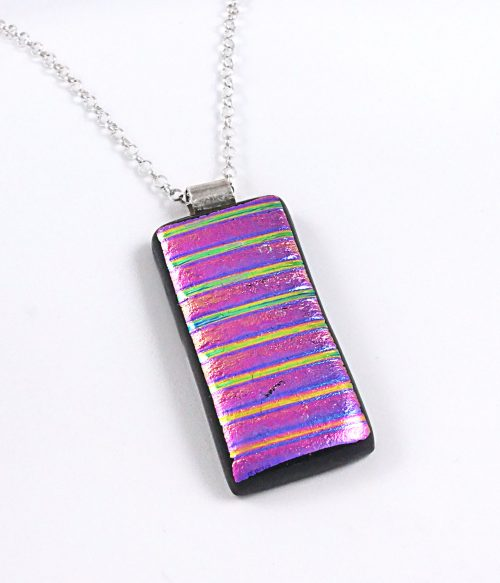 Pink Dichroic Fused Glass Pendant