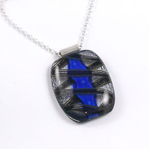 Unique Blue, Black & Silver Fused Glass Pendant