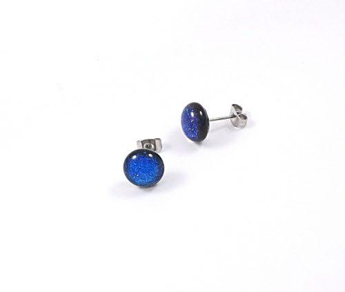 Blue Dichroic Stud Earrings