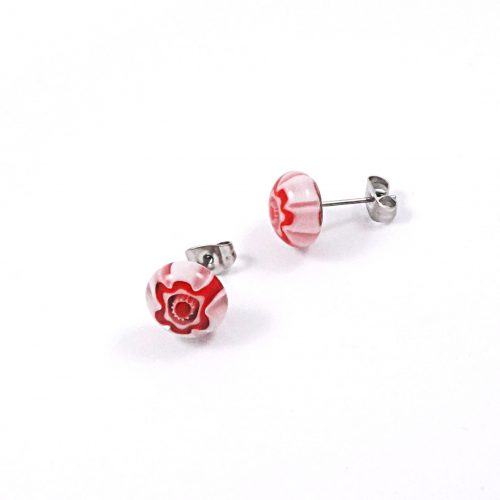 Red & Pink Millefiori Stud Earrings