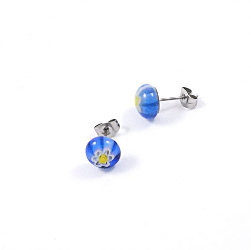 Blue & Yellow Millefiori Stud Earrings